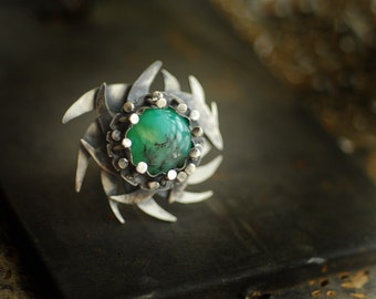 Large Green Chrysoprase Ring, Natural Gemstone Jewelry, Sterling Silver Statement