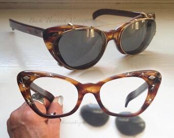 50's Duo Starburst Atomic Pin Up Cat Eye Eyeglass Frames Tortoise w Grey Clip on Sunglasses Back Thennish Vintage