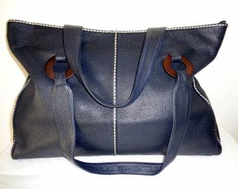 Plinio Visona thick highest quality genuine leather ex large tote ,work bag, satchel, shoulder bag ,purse dual  strap vintage awesome