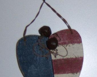 AMERICANA HEART ORNAMENT/Rustic/Primitive/Handmade/Wooden