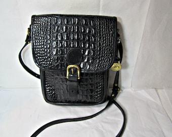 Black Leather Purse Faux Reptile Leather Purse.