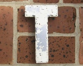 Antique Vintage Metal Letter T Marquee Letter T Chippy Painted Letter T