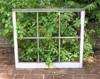Antique Vintage Six Pane Window Frame Architectural Salvage Wooden Window Frame Farmhouse Shadow Box