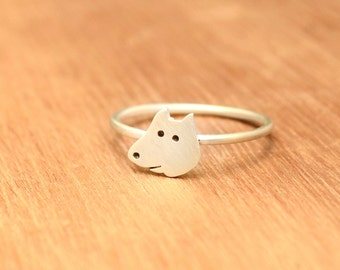 Tiny dog Ring -Sterling Silver - Dog lover gift