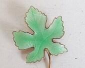 Valentines Day Sale Vintage guilloche brooch pin maple leaf jadeite mint or celedon green