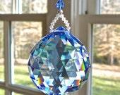 "Large Crystal Ball Suncatcher, 1.6"" Swarovski Crystal ball in 14 Colors, Window Decoration, Hanging Crystal, Rainbow Maker-SIMPLICITY GRANDE"