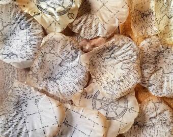Flower Girl Basket, silk petals, Aisle rose petals, Wedding Flower Petals, vintage map, destination wedding,  Petals, flower petals,
