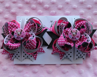 2  Pink  MINNI MOUSE {IZABELA Hair Bow Barrettes}