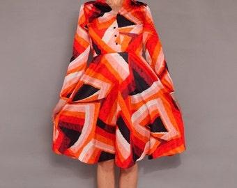 JULY SALE Vintage Orange Crush Ombré Dress // Abstract Print 70's Silky Poly Dress // M L