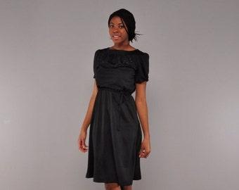 JULY SALE Vintage Black Knit Dress // Glitter Beaded Bodice // Puff Sleeve // S M