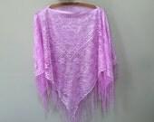 Vintage Fringed Poncho, Light Purple Poncho, Open Weave Poncho See Through Fringe Shawl Purple Wrap Shawl Lace Poncho Elegant Vintage Poncho