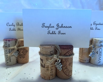 Wine Cork Place Card Holders 2 Cork Bundles with Twine & Charm for Wedding, Rehearsal Dinner, Wine Event, Dinner Party Favor Photo Holder