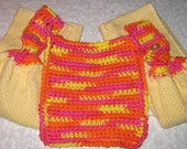 Kitchen Set 2 hanging towels & crochet dish cloth yellow towel multi color cloth