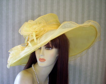 Ladies Yellow Wide Brim Hat, Tea Hat, Wedding Hat, Church Hat, Victorian Hat, Downton Abbey Hat, Halloween Hat