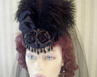 Steampunk Mini Riding Hat Black Victorian Hat 1800s Style Hat Halloween Hat Mini hat