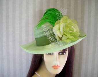 "Green Kentucky Derby Hat ""St.Patricks Day"" Tea party, Ascot, Preakness, Easter hat By Ms.Purdy"