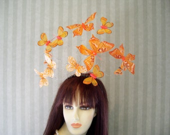 Orange Butterfly Fascinator, Kentucky Derby Hat, Wedding, Easter, Tea Party Hat, Preakness Fascinator, Flower Girl