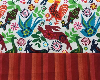 Mexican Tablecloth Table Runner Mexican Otomi Style Animals White Tribal Reversible