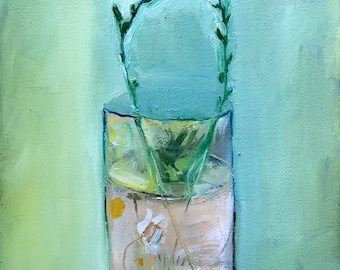 Terrarium with daisy, original oil painting on arches paper