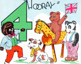 Vintage Golliwog Fourth Birthday Card with Toys and Union Jack