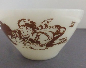 Vintage Davy Crockett Fire King Milk Glass Cereal Bowl