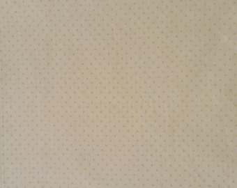 Christmas Presence Fabric by April Cornell for Moda Cotton Material Textile 1-1/4 Yard Cut Soft Golden Cream Dots on Cream Background