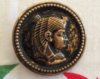 Set of Seven Gold Metal Egyptian Motif Vintage Buttons