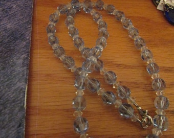 clear and blue glass bead necklace