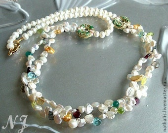 Keshi Pearl Multi color gemstone Necklace. Keshi Pearl necklace. Handmade pearl necklace.