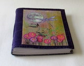 Peaceful Moments 07 journal - waxed purple canvas mid size journal