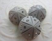 Vintage Buttons -  beautiful lot of 3 dove grey design rhinestones celluloid (apr19b)