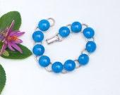 22 Dichroic glass cabochon link bracelet, milky blue, bright blue