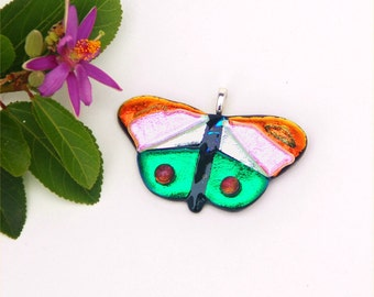 Butterfly pendant, fused dichroic glass, orange, pink, silver, green