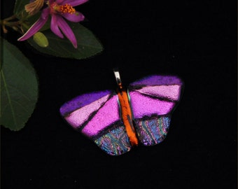 Butterfly pendant, fused dichroic glass, pink and purple, orange,  transparent