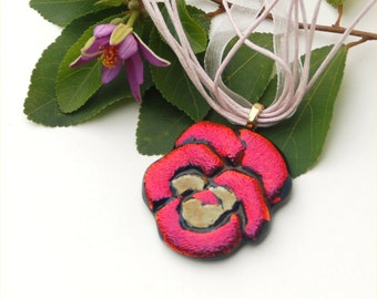Fused dichroic glass pendant, dark red pansy, flower