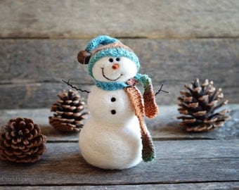 Snowman - handmade - needle felted- one of a kind -  716