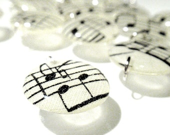 Vintage Sheet Music Charms Handmade Acrylic Lentil Beads Musical Notes Puffy Charms Geometric Dangles Charms Pendants RTS or Custom A3