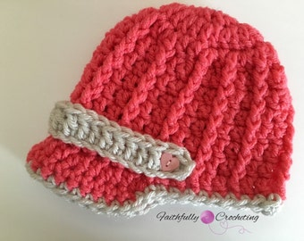 Newvorn girl brim hat.. Newsboy hat.. Photo prop.. Ready to ship.. Pink