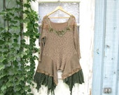 RESERVED//Woodland Beaded Bohemian Knit Tunic Top + Red Sweater Dress// Upcycled// emmevielle