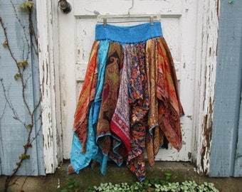 Med. Turquoise Blue Orange Bohemian Gypsy Pixie Skirt// Reconstructed Upcycled Recycled// emmevielle