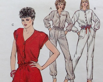 Vintage 80s 1984 Kwik Sew 1331 Jumpsuit Romper Short or Long Onesie, Size S, Easy Level