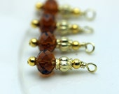 Honey Brown and Gold Bead Earring Dangle, Necklace Pendant, Charm Drop Set, Jewelry Making Charms