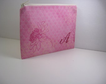 Personalized Makeup Bag, Personalized Clutch, Monogrammed Zipper Pouch, Made to Order - Pretty Pink