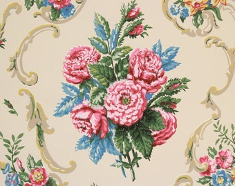 1950s Vintage Wallpaper Pink and Blue Flower Bouquets with Scrolls by the Yard