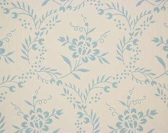 1960s Vintage Wallpaper Blue Flowers on Off White by the Yard