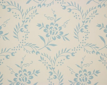 1960's Vintage Wallpaper Blue Flowers on Off White
