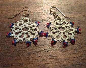White Blue and Red Tatted Earrings