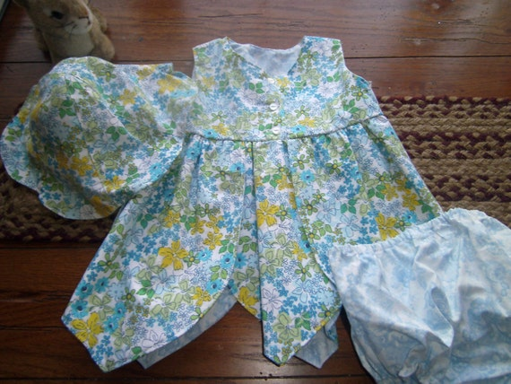 Baby Petal Dress, Sundress,  Easter Dress, 3 pc Dress,Panties and Hat,Handmade,  Blue Yellow Print  6 months,12 months,  Cotton