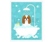 254D Dog Print - Cavalier King Charles Spaniel in Bathtub Wall Art - Cavie Print - Dog Bathroom Wall Decor - Cavalier King Charles Dog Print