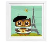 176 Owl Nursery Print - Owl in Paris Wall Art - Paris Print - Eiffel Tower Art - Paris Wall Art - Owl Print - Owl Wall Art - France Wall Art
